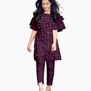 Exclusive Purple Linen Kurti