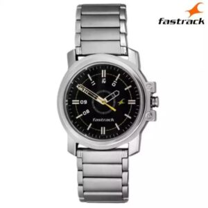 Fastrack 3039SM02 Silver Black Dial Watch For Men