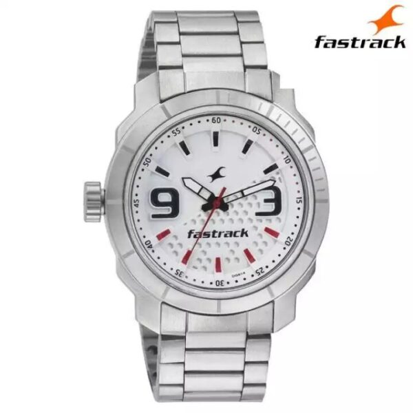 Fastrack 3168SM01 White Dial Analog Watch For Men- Silver